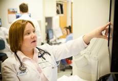 Lahey doctor evaluating breast screening