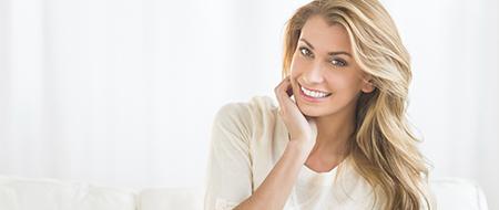 Smiling happy female patient