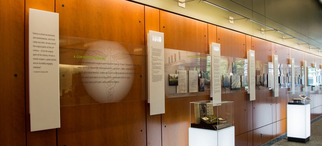 Timeline exhibit of Lahey Hospital history